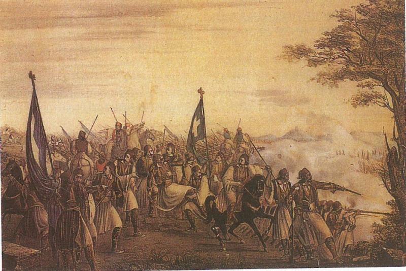 Μάχη των Αθηνών, θάνατος Καραϊσκάκη. Λιθογραφία άγνωστου Ιταλού ζωγράφου